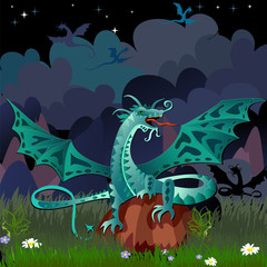 dragon in the night landscape