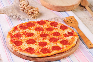 italian salami pizza baked in fire oven