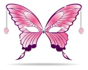Maschera Carnevale Farfalla Rosa-Carnival Pink Rose Mask-Vector