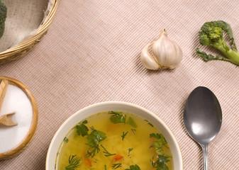 soup, garlic and broccoli