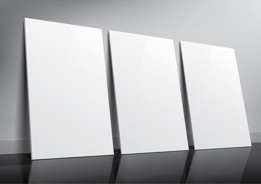 Floor standing three posters sample for design portfolio