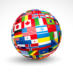 World flags sphere. Vector illustration.