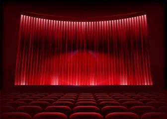 Cinema auditorium with stage curtain. Vector illustration.