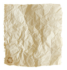 Old torn crumpled paper bag isolated on white