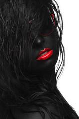 Foto op Canvas Rood, zwart, wit black portrait hair