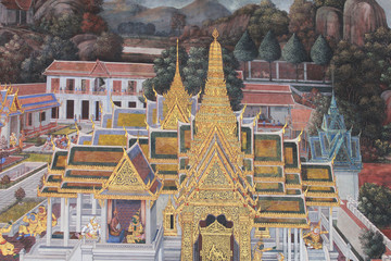 Temple painting, Thailand.
