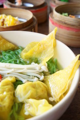 chinese noodle with dimsum