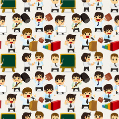 seamless cartoon office worker pattern.