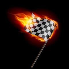 Burning checkered racing flag