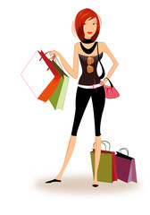 Pretty girl shopping by vector