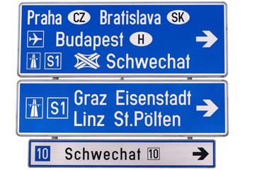 Prague, Bratislava, Budapest motorway sign, Graz, Linz