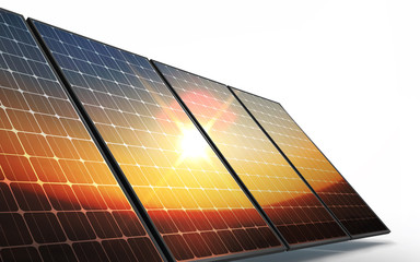Isolated Photovoltaic cells, in sunset reflecting new eco future