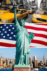 Fototapete - New York, statue de la liberté, taxi, skyline