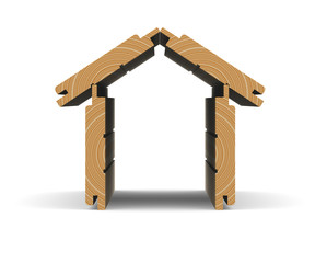 Wooden boards stacked in the shape of the house