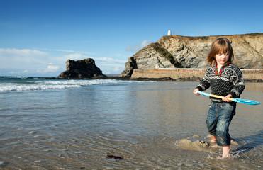 Beach holiday Cornwall child