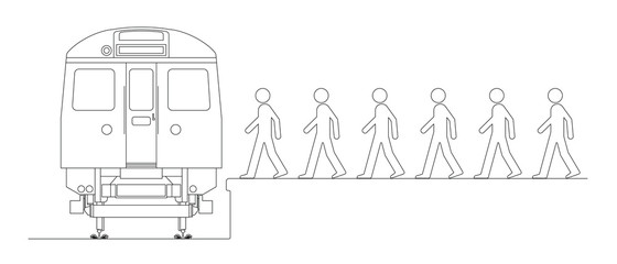 Line drawing of commuters boarding a train