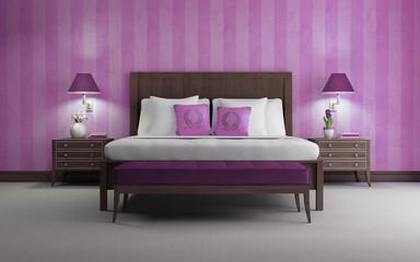 Purple chic luxury bedroom 3d render purple wallpaper front view