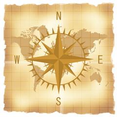 古い世界地図とコンパス