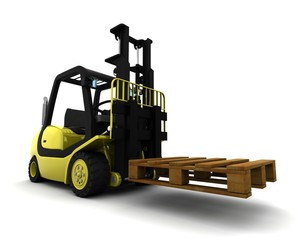 Yellow Fork Lift Truck Isolated on White