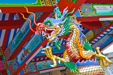 Colorful dragon statues