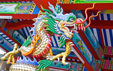 Colorful dragon statues