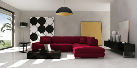 Interior of stylish, luxury, modern living room with red sofa