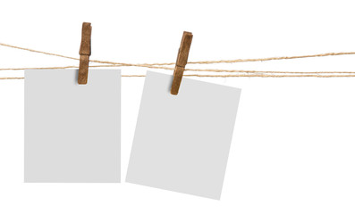 pictures hanging on a rope