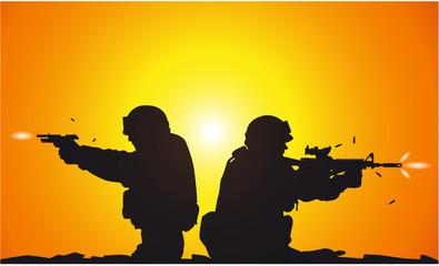 Fotorolgordijn Militair Silhouette of shooting soldiers