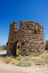 Old stone windmill on chios island, Greece