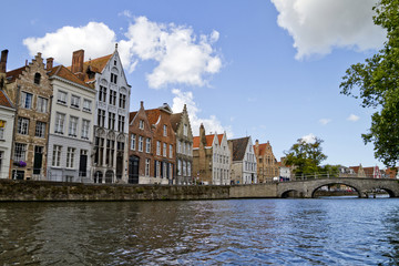 Bruges Canal, Homes And  Clouds