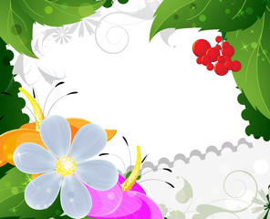 Wild flowers and ripe berries
