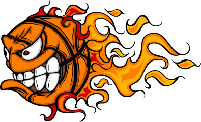 Flaming Basketball Face Cartoon