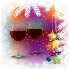 Abstract Christmas background with wine glasses