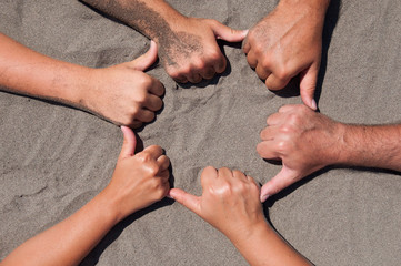 hands on sand