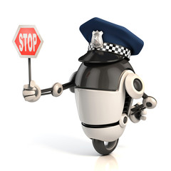 robot traffic policeman holding the stop sign