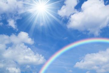 青空と虹と太陽