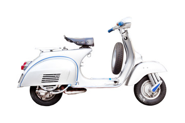Scooter vintage vespa, Classic Italian scooter on a white background