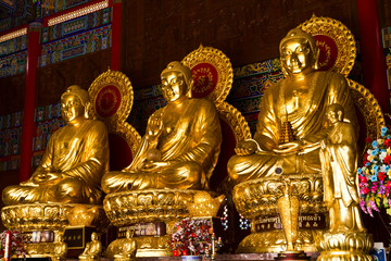 Three Buddhas in the Chinese temple of Thailand