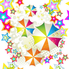 Seamless pattern with colored stars and umbrellas