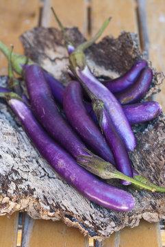 Long, thin eggplants