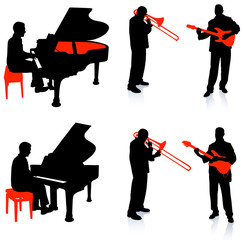 Live Band Musicians Silhouette Collection