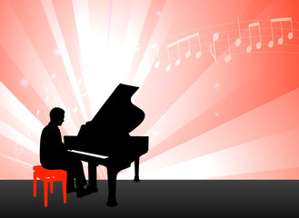 Piano Musician on Red Background with Notes