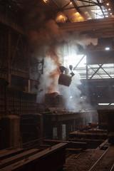 Steelmaking ladles on crane hanging on steel mill