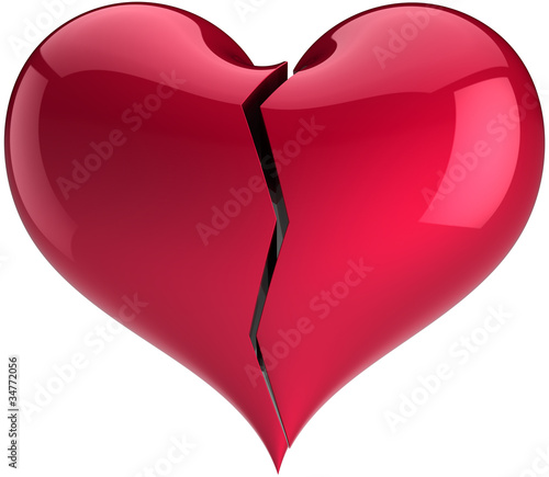 Broken Heart Shape Divorce Abstract Love The End Symbol Stock