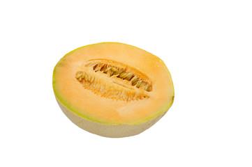 Half cantaloupe or cantalope isolated on white