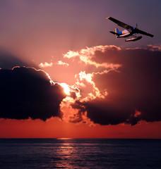 Seaplane at sunset