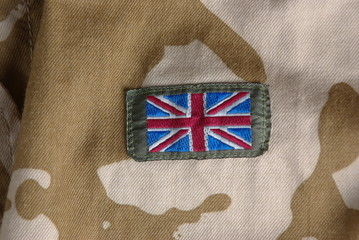 British camouflage uniform with flag