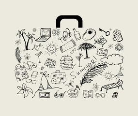 Summer holiday, suitcase for your design