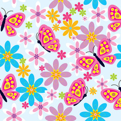 Flowers and butterfly ( seamless pattern)