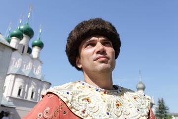 Portrait of tourist in regal clothes